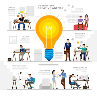 Illustratieconcept die creatief bureau adverteren. werkgroep volkeren als infographic.