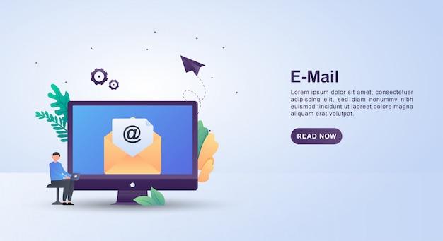 Illustratieconcept e-mail met mensen die terwijl het controleren van e-mail op laptop zitten.