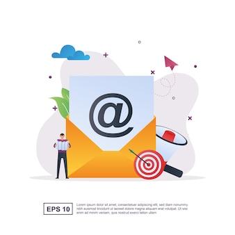 Illustratieconcept e-mailmarketing met megafoon dan target.