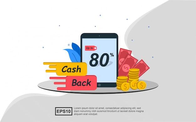 Illustratieconcept het aanbieden van contant geld terug aan klanten.