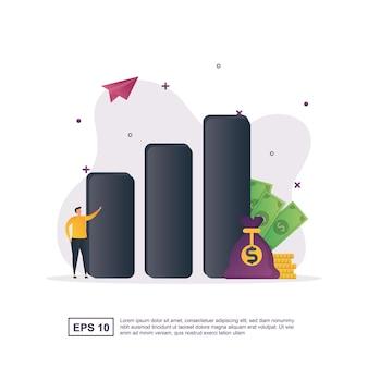 Illustratieconcept investering met een staafdiagram en een geldzak.