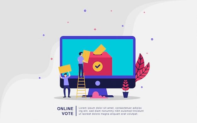 Illustratieconcept online stemmen en verkiezingen, e-voting internet-systeem, mensen geven online stem en brengen papieren stem in het stembus vector illustratie concept.