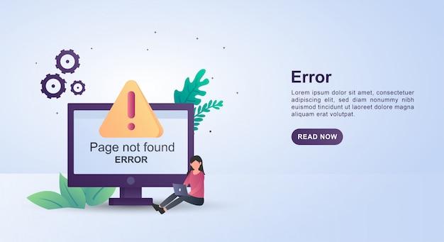 Illustratieconcept pagina niet gevonden met de persoon die laptop speelt.