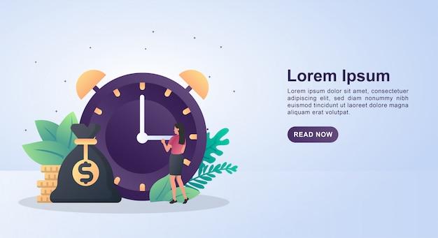 Illustratieconcept tijd is geld met een grote klok.
