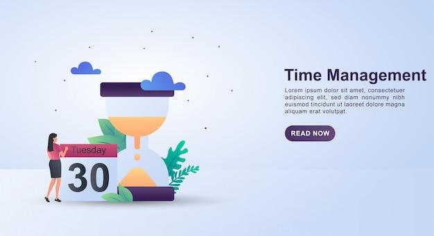 Illustratieconcept tijdbeheer met een zandloper die tijd betekent.