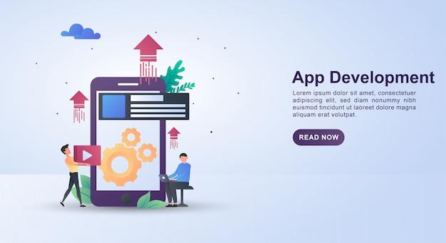 Illustratieconcept van app-ontwikkeling zodat mobiele apparaten geavanceerder zijn.
