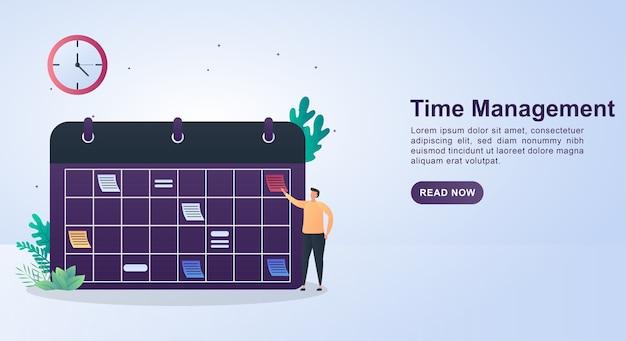 Illustratieconcept van tijdbeheer met een planbord en een klok erop.