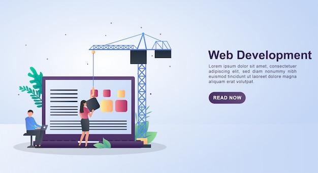 Illustratieconcept webontwikkeling met mensen die het web ontwerpen.