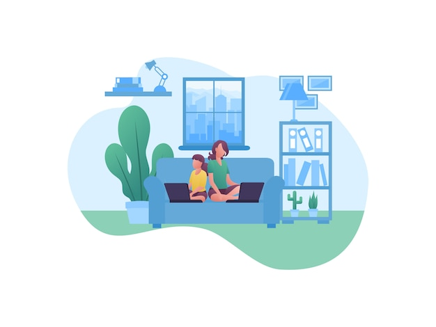 Illustratieconcepten over het werken vanuit huis met familie