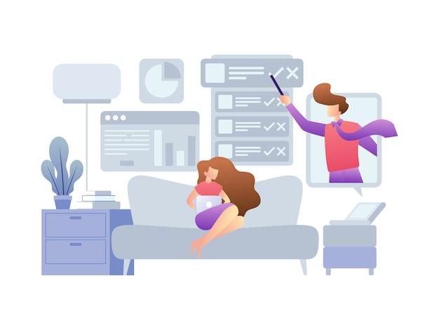Illustratieconcepten over het werken vanuit huis
