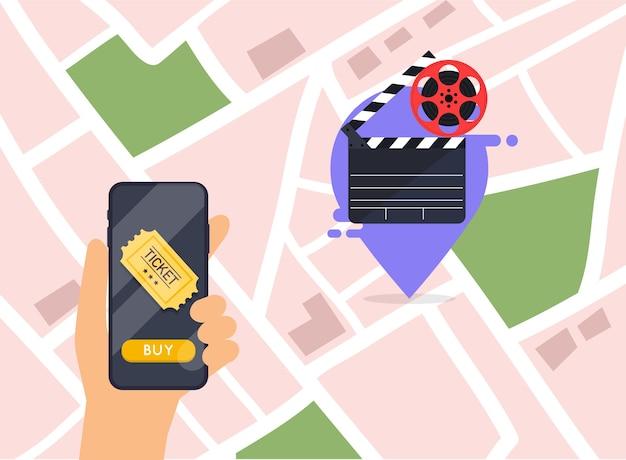 Illustratieconcepten van de online bestelling van bioscoopkaartjes.