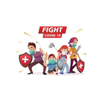 Illustratiefamilie tegen coronavirus of vecht covid 19