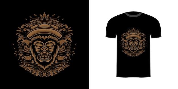 Illustratiegorilla met gravureornament voor t-shirtontwerp