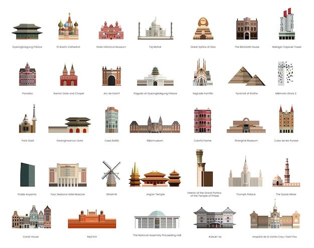 Illustratieinzameling van toeristen beroemde oriëntatiepunten