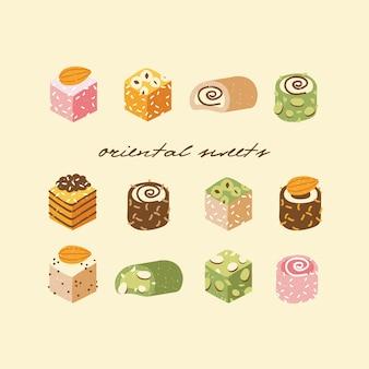 Illustratieinzameling van turkse zoetigheden met kokosvlokken en noten. assortiment lekkere oosterse zoetigheden of rahat lokum.