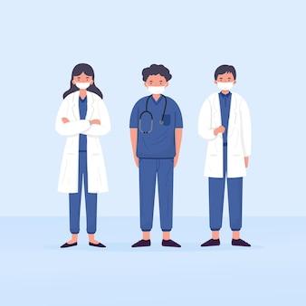 Illustratiekarakter van arts en verpleegster. gezondheidswerkers die maskers dragen. helden frontlinie
