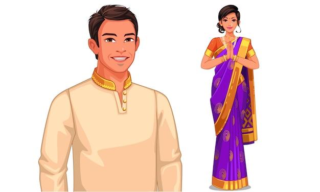 Illustratiekarakter van indisch paar in traditionele uitrusting