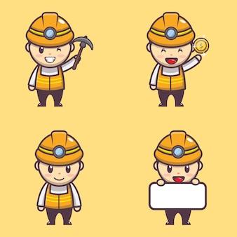 Illustratiekarakter van schattige mijnwerkerjongen