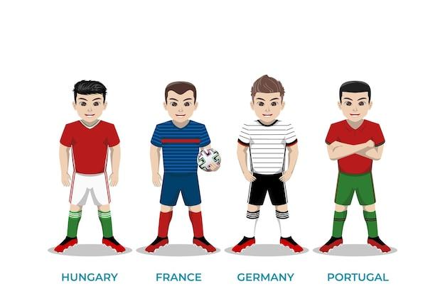 Illustratiekarakter van voetballer voor europees kampioenschap