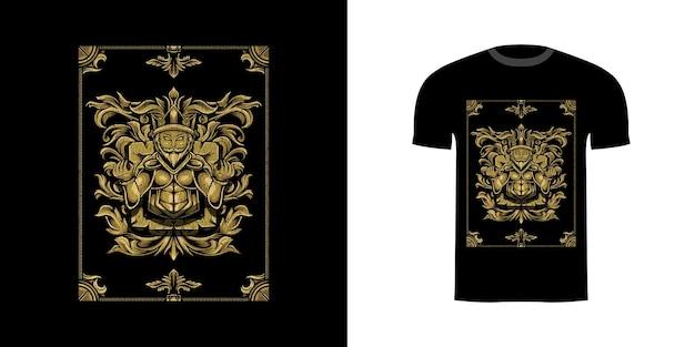 Illustratiekoning met gravureornaent voor t-shirtontwerp