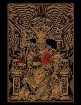 Illustratiekoning van satan met gravurestijl