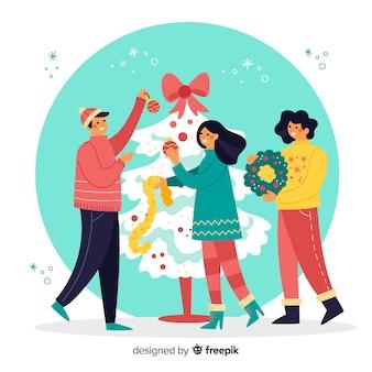 Illustratiemensen die kerstmisboom verfraaien