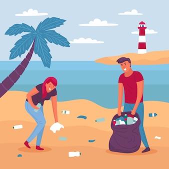 Illustratieontwerpmensen die strand schoonmaken