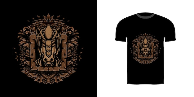 Illustratiepaard met gravureornament voor t-shirtontwerp