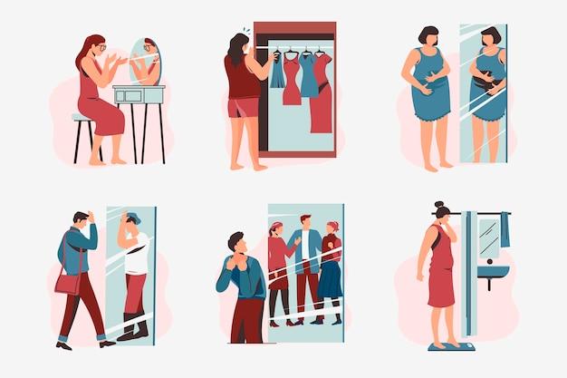 Illustratiepakket met een laag zelfbeeld met mensen