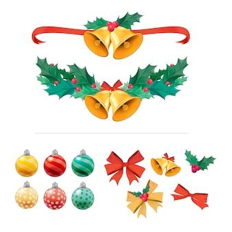 Illustratiereeks artikelen van de kerstmisdecoratie