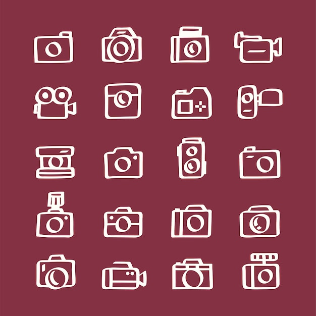 Illustratiereeks camerapictogrammen