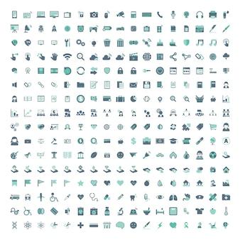 Illustratiereeks gemengde die pictogrammen op witte achtergrond wordt geïsoleerd