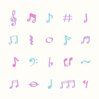 Illustratiereeks pictogrammen van de muzieknota