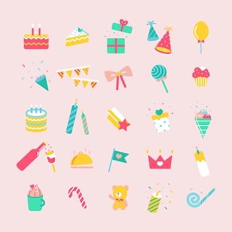 Illustratiereeks pictogrammen van de verjaardagspartij