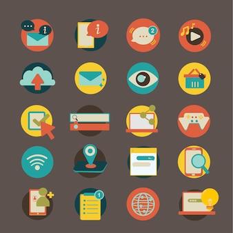 Illustratiereeks sociale netwerkpictogrammen