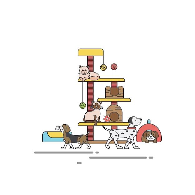 Illustratiereeks van dierenwinkel