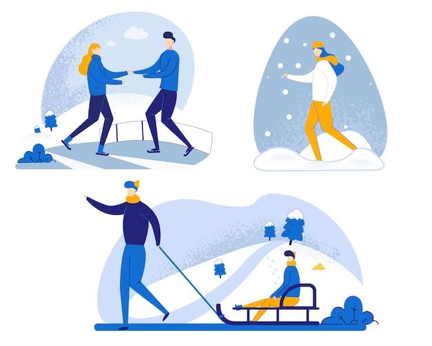 Illustratiereeks van het lopen in de winter in sneeuwbeeldverhaal.