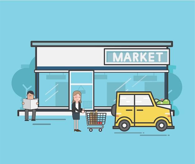 Illustratiereeks van supermarkt