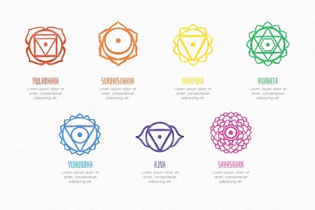 Illustraties collectie kleurrijke chakra's