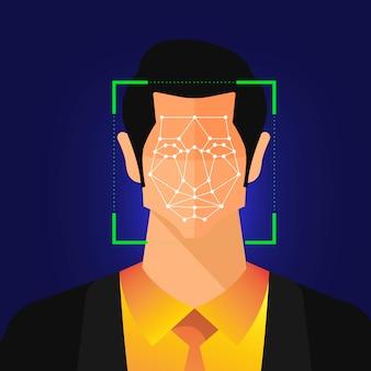 Illustraties concept gezichtsherkenningstechnologie aanwezig met portretclose-up aan gezicht van mens voor scan. voor de uitgever van een bannerwebsite of het tijdschrift. illustreren.