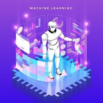 Illustraties concept machine learning via kunstmatige intelligentie met technologische analyse gegevens en kennis. isometrisch.