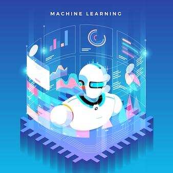 Illustraties concept machine learning via kunstmatige intelligentie.
