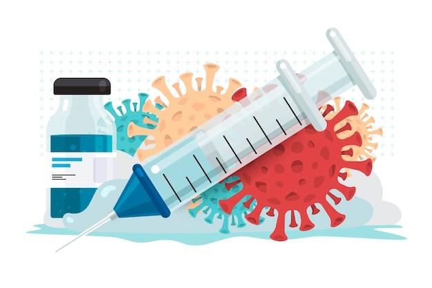 Illustraties concept vaccin voor covid-19