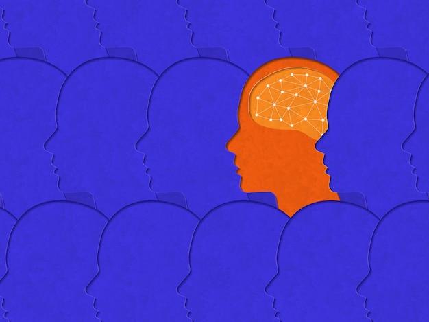 Illustraties concept van anders denken. art-stijl papercut contrasterende kleur. illustreren.