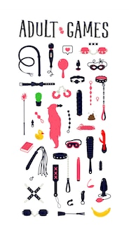 Illustraties en pictogrammen van seksspeeltjes. speelgoed voor volwassenen. een patroon van plezierinstrumenten.