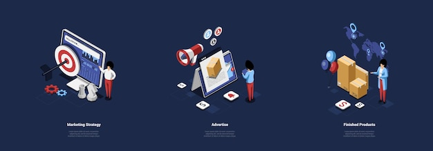 Illustraties in cartoon 3d-stijl van marketing concept. isometrische samenstelling over drie verschillende onderwerpen handelsstrategie