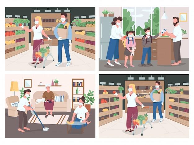 Illustraties in egale kleur in quarantaine plaatsen. sociale afstand tijdens het boodschappen doen. mensen helpen ouderling het huis te desinfecteren. ouder en kinderen in medische maskers. familie 2d stripfiguren