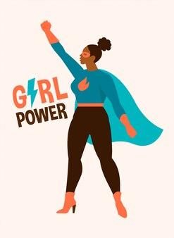 Illustraties in plat ontwerp van afro-amerikaanse vrouwelijke superheld in grappige strips kostuum. girl power concept.