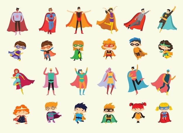 Illustraties in plat ontwerp van vrouwelijke, mannelijke en kinderen superhelden in grappig stripkostuum