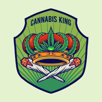 Illustraties met cannabis king crown badge-logo